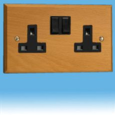 Varilight Kilnwood 2 Gang 13A Switched Socket Scandic Beech Black Insert XK5BEB